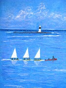 Sails Drawings - Lighthouse by Jutta B