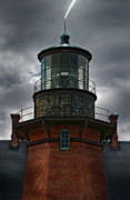 Ri Lighthouse Prints - Lighthouse Lightning Print by Murray Bloom