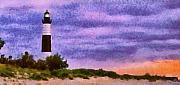 Sand Pastels Prints - Lighthouse Lonely Station Print by Russ Harris