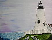 Pemaquid Lighthouse Painting Framed Prints - Lighthouse Framed Print by Mary Capriole