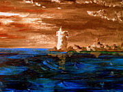Storms Paintings - Lighthouse by Michael Canning