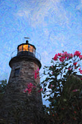Charlotte Digital Art Posters - Lighthouse N Pink Poster by Emily Stauring