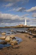 Sandy Beaches Prints - Lighthouse, Northhumberland, England Print by John Short