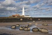 Ground Level View Posters - Lighthouse, Northumberland, England Poster by John Short