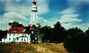 Lighthouse Off Lake Michigan Print by Marsha Heiken