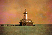 Cities Digital Art Metal Prints - Lighthouse Off Navy Pier Metal Print by Mary Machare