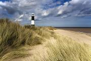 Sandy Beaches Prints - Lighthouse On Beach, Humberside, England Print by John Short
