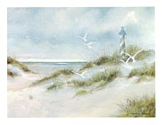 Sand Dunes Paintings - Lighthouse on the Beach by Charles Roy Smith