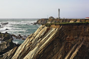 Point Arena Prints - Lighthouse on the Cliffs Print by George Oze