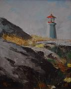 Printed Painting Posters - Lighthouse Peggys Cove NS Poster by Chris  Riley