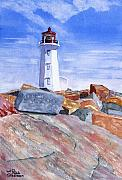 Watercolors - Lighthouse Peggys Cove by Rich Stedman