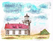 Watercolors Painting Originals - Lighthouse-point-cabrillo-california by Carlos G Groppa