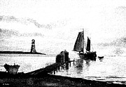 Pier Drawings - Lighthouse Point by George Pedro