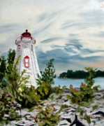 Five Canvas Paintings - Lighthouse point by Michael Marcotte