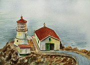 Lighthouse Art Paintings - Lighthouse Point Reyes California by Irina Sztukowski