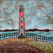 Folk  Paintings - Lighthouse by Rain Ririn