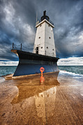 Dark Cloud Prints - Lighthouse Reflection Print by Sebastian Musial