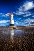 White Digital Art Posters - Lighthouse Reflections Poster by Adrian Evans