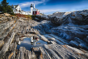 Tidal Pool Framed Prints - Lighthouse Reflections Framed Print by George Oze