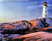 Watercolor  Pastels Posters - Lighthouse Poster by Russ Harris