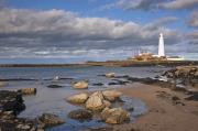 Sandy Beaches Prints - Lighthouse Scenic, Northumberland Print by John Short