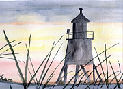Sea Shore Prints Painting Originals - Lighthouse Silhouette by Eva Ason