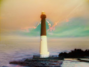New England Ocean Digital Art Framed Prints - Lighthouse Sunrise Framed Print by Bill Cannon