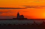 Delightful Sunset Posters - Lighthouse Sunset Poster by Robert Harmon