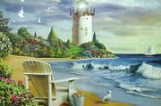 Lawn Chair Posters - LIghthouse View Poster by Unique Consignment