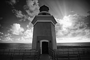 Lighthouse With Dramatic Sky Print by George Oze