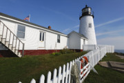 New England Lighthouse Prints - Lighthouse with Garden Print by George Oze