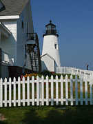 Pemaquid Lighthouse Framed Prints - Lighthouse with Picket Fence Framed Print by Jeanne  Woods