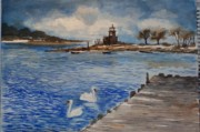 Swans... Paintings - Lighthouse with Swans by Siona Koubek