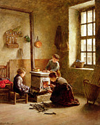 Wood Burning Framed Prints - Lighting the Stove Framed Print by Pierre Edouard Frere