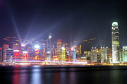 Tsim Sha Tsui Posters - Lighting Up the Harbor Poster by Bibhash Chaudhuri