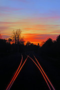 Railroads Framed Prints - Lighting Up the Tracks Framed Print by Benanne Stiens