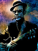 African American Metal Prints - Lightnin Hopkins Metal Print by Paul Sachtleben