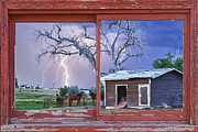 James Insogna Framed Prints - Lightning And Horses Lightning Strikes Red Picture Window Frame Photo Art Framed Print by James Bo Insogna