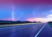 Strength Metal Prints - Lightning And Road Metal Print by Radius Images