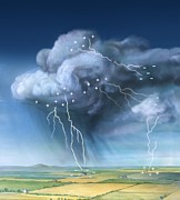 Cloud To Cloud Prints - Lightning, Artwork Print by Gary Hincks