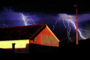 Barn Digital Art - Lightning At The Old Ranch . 40D4577 by Wingsdomain Art and Photography