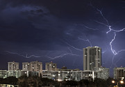 Urban Buildings Posters - Lightning bolt in sky Poster by Blink Images