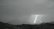 Lightning Bolt Pictures Prints - Lightning Bolts Hitting the Continental Divide BW Crop Print by James Bo Insogna