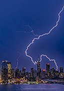 Shower Posters - Lightning Bolts Over New York City Poster by Susan Candelario