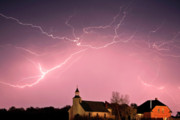 Abandoned Digital Art - Lightning bolts over Spring Valley country church by Mark Duffy