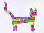 Lively Drawings - Lightning Cat by James Davidson