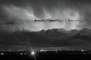 Sky Metal Prints - Lightning Cloud Burst Black and white Metal Print by James Bo Insogna