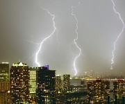 "Empire State Building Photo Posters - Lightning Dance Poster by Photography by Steve Kelley aka ""mudpig"""