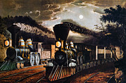 Lithograph Framed Prints - Lightning Express, 1864 Framed Print by Granger