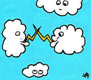 Storm Clouds Drawings Posters - Lightning Fight Poster by Jera Sky